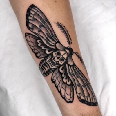 Black And Grey Death Head Moth Tattoo