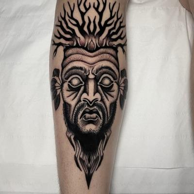 Black And Grey Tree Man Tattoo