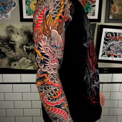 Japanese .Dragon Full Sleeve Tattoo