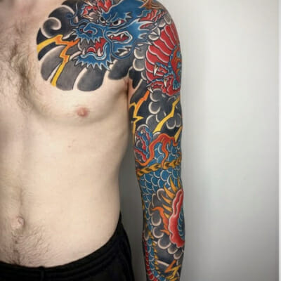Japanese Dragon Sleeve Tattoo