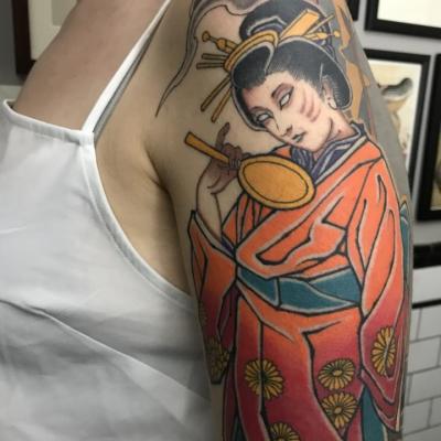 Japanese Geisha Sleeve Tattoo