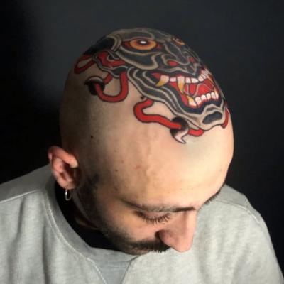 Japanese Head Tattoo Side