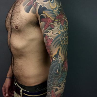 Japanese Koi Full Sleeve Tattoo Side
