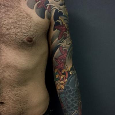 Japanese Koi Full Sleeve Tattoo