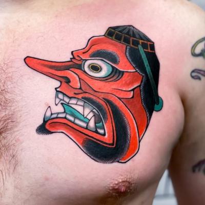 Japanese Oni Mask Tattoo