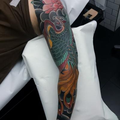 Japanese Phoenix Sleeve Tattoo