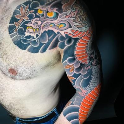 Japanese Tattoo Dragon 3_4 Sleeve