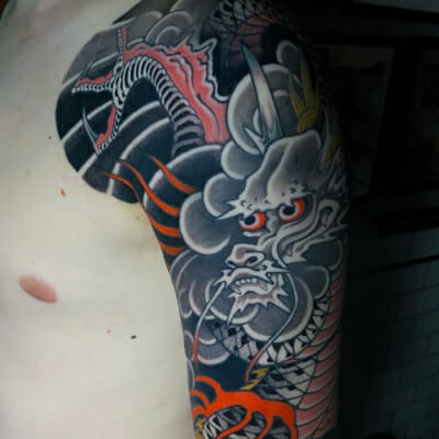 Japanese Tattoo Dragon Half Sleeve