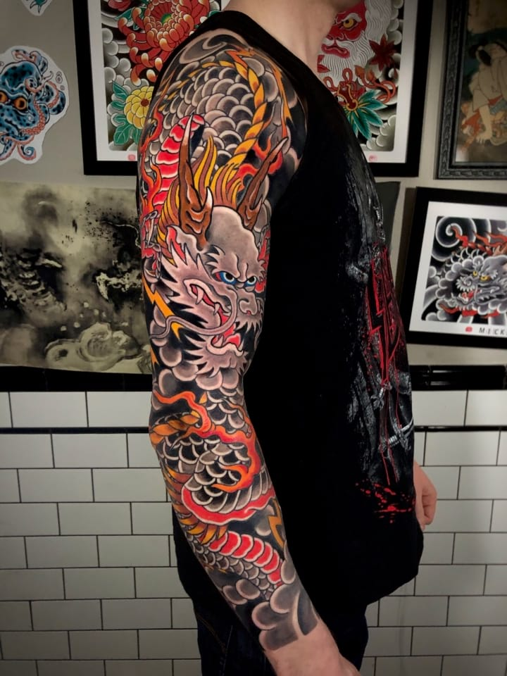 Japanese Tattoo Dragon Sleeve