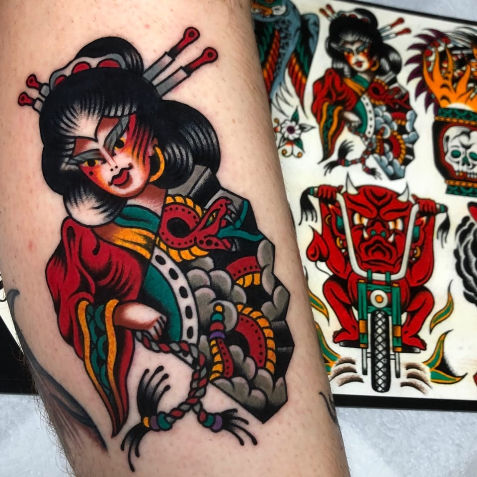 Japanese Tattoo Geisha Flash