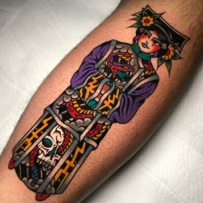 Japanese Tattoo Skull Geisha