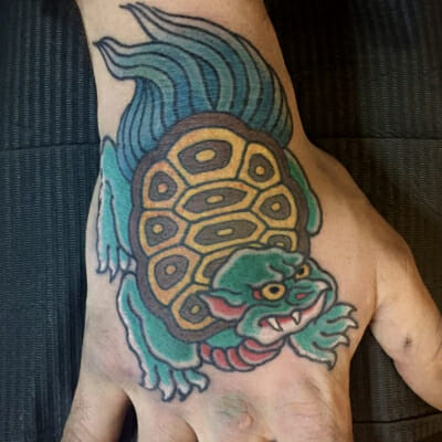 Japanese Turtle Hand Tattoo