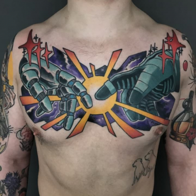 Neo Traditional Tattoo Chestpiece