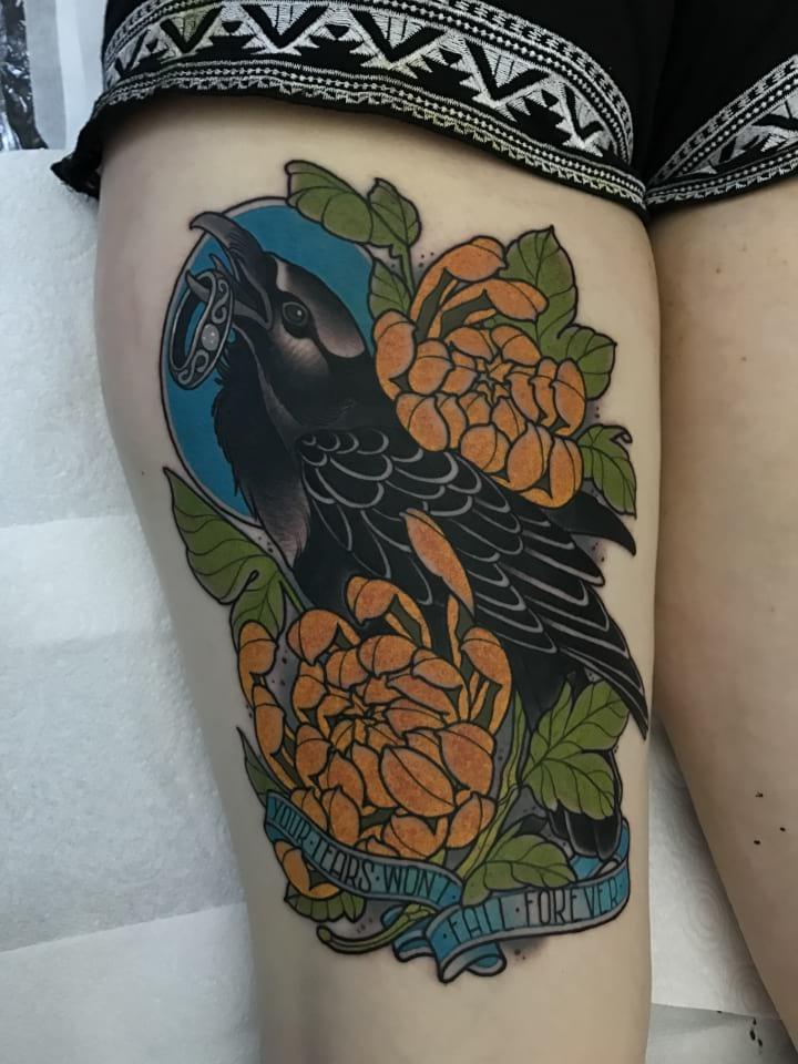 Neo Traditional Tattoo Crow