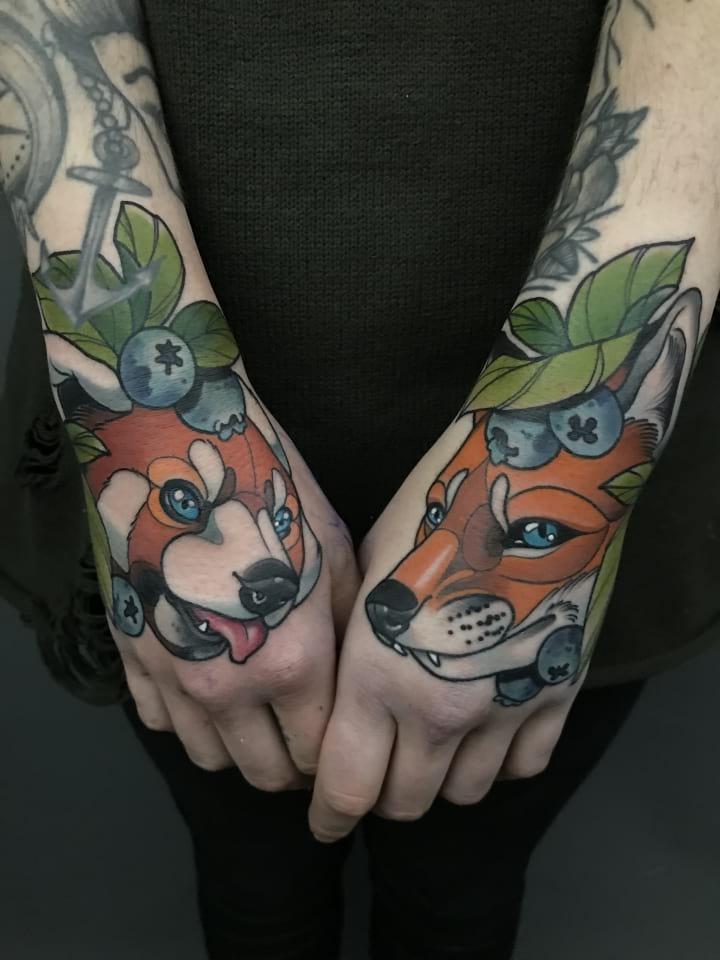 Neo Traditional Tattoo Fox And Panda