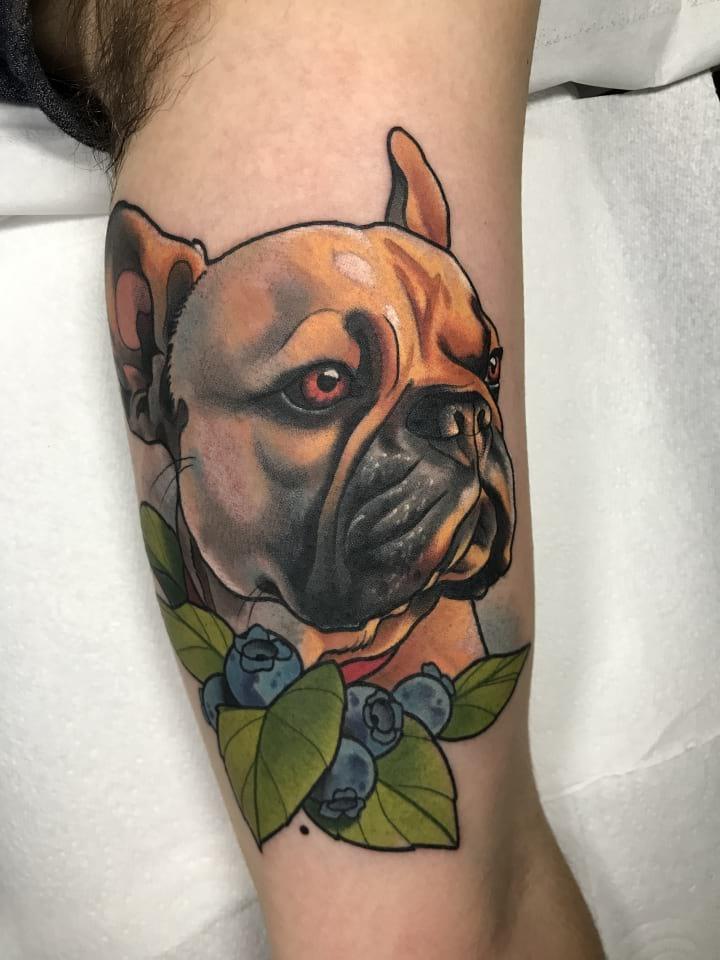 Neo Traditional Tattoo French Bulldog