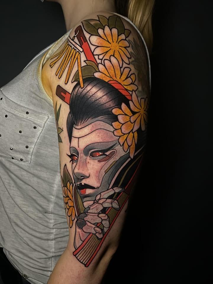 Neo Traditional Tattoo Robot Geisha