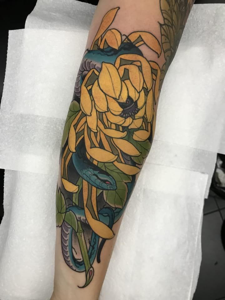 Neo Traditional Tattoo Snake And Flower