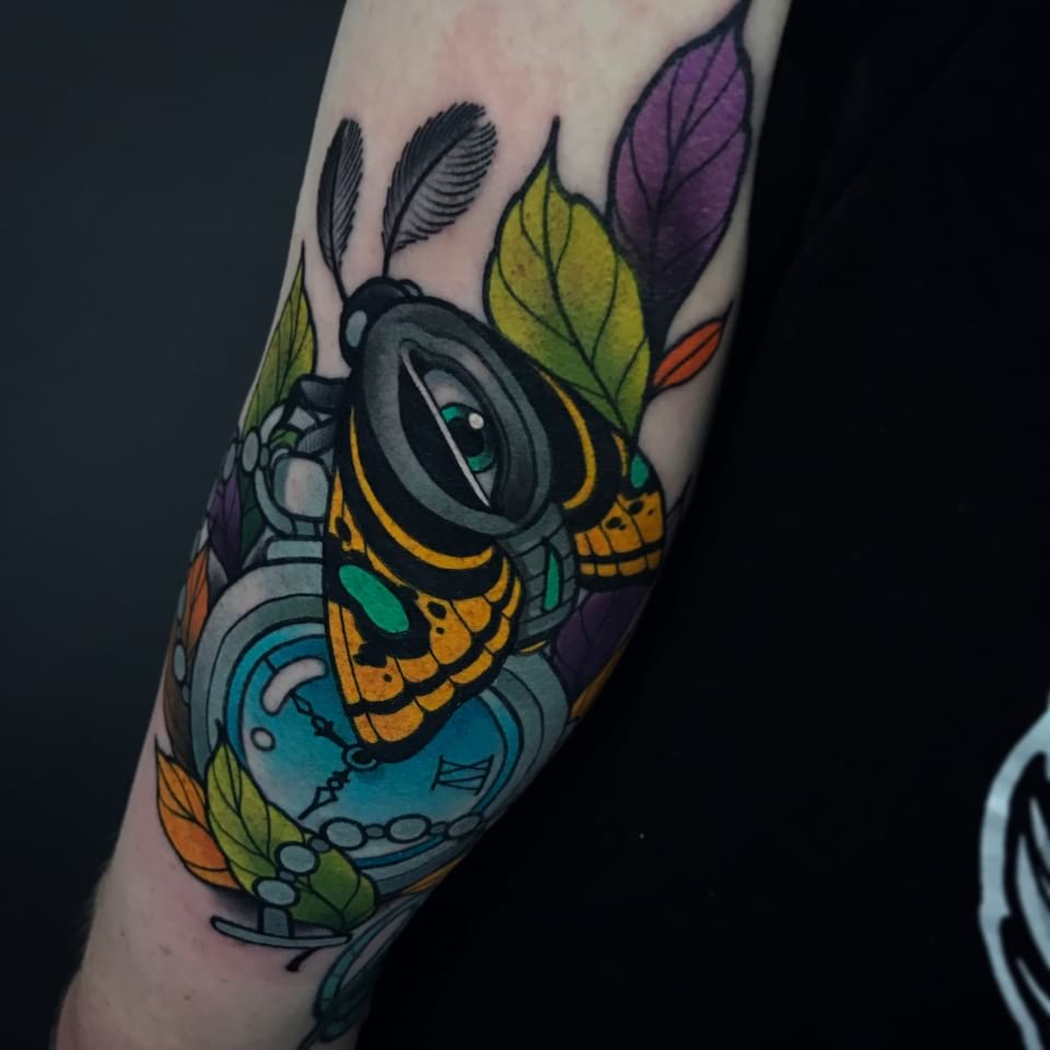 Neo Traditional All Seeing Moth Tattoo