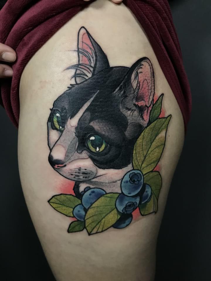 Neo Traditional Cat Portrait Tattoo