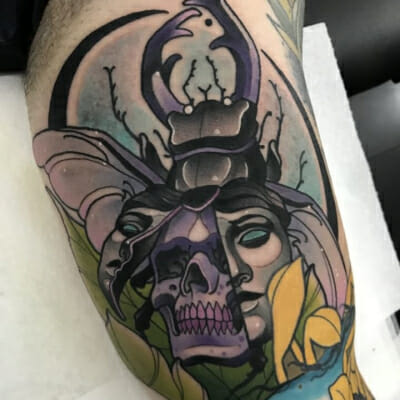 Neo Traditional Death Head Moth Tattoo