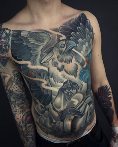 Neo Traditional Fuyll Front Tattoo