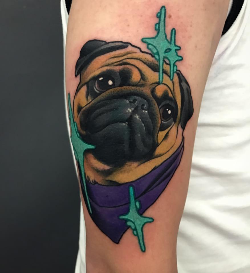 Neo Traditional Pug Tattoo