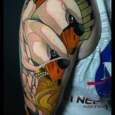 Neo Traditional Swans Tattoo