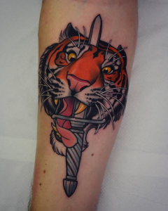 Neo Traditional Tiger And Dagger Tattoo