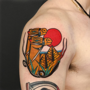 Traditional Camel And Pyramids Tattoo