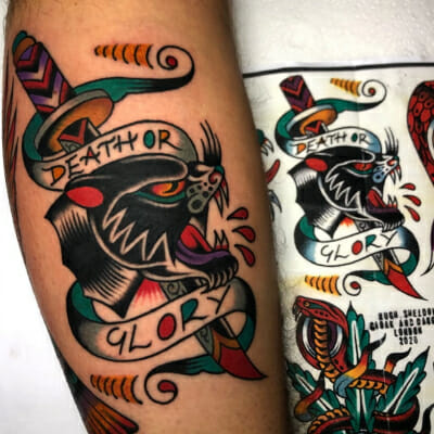 Traditional Death Or Glory Tattoo