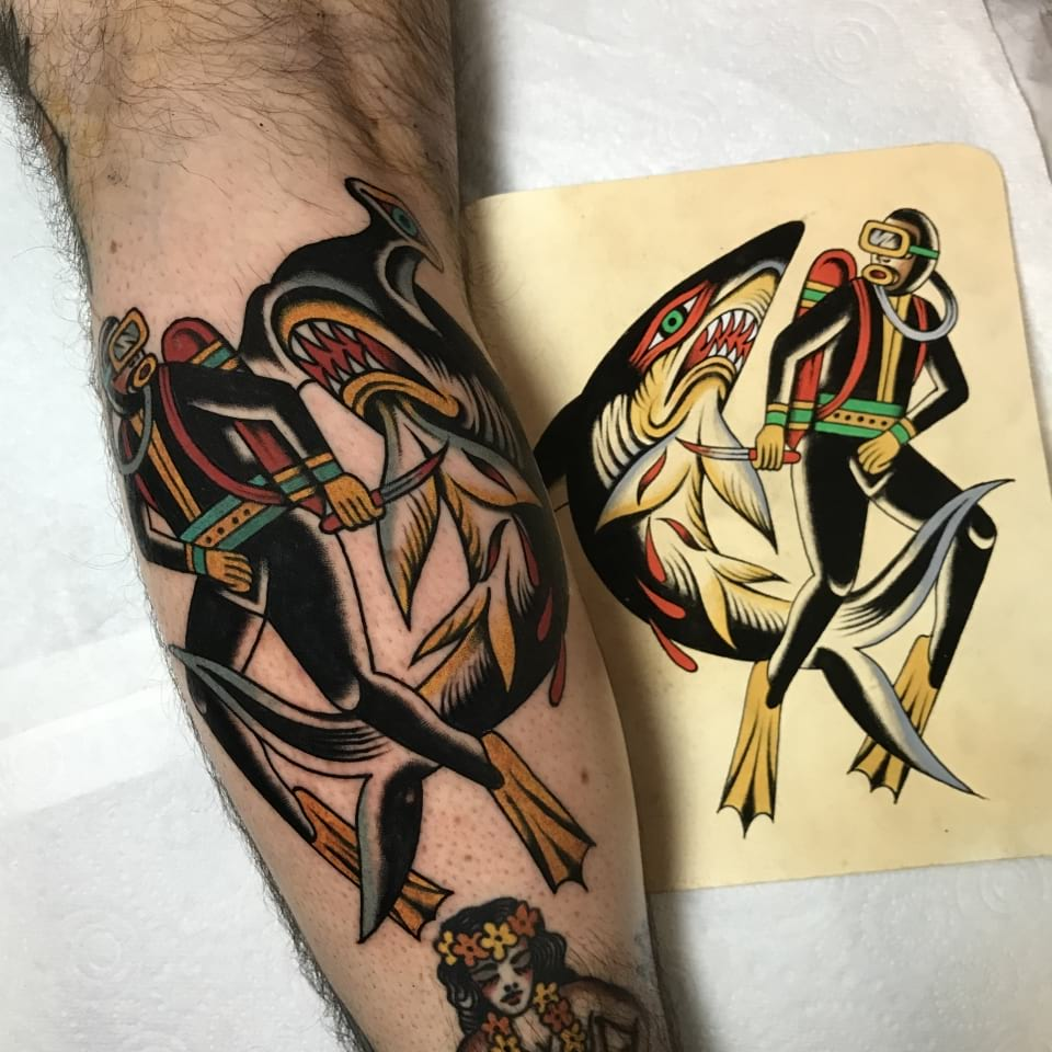 Traditional Diver And Shark Tattoo