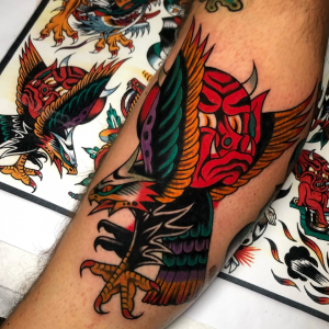 Traditional Eagle And Devil Tattoo