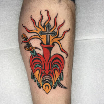 Traditional Flaming Religious Heart Tattoo