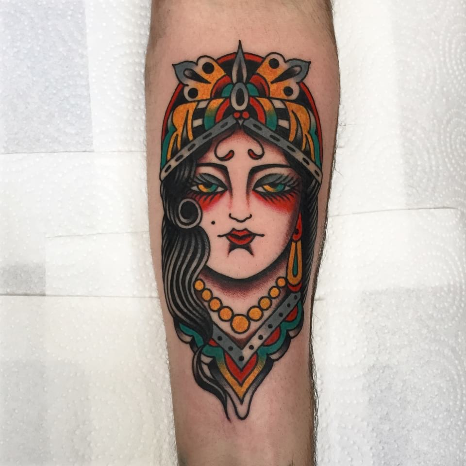 Traditional Gypsy Lady Tattoo