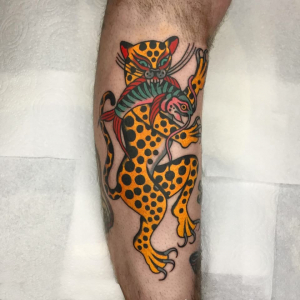 Traditional Hungry Leopard Tattoo