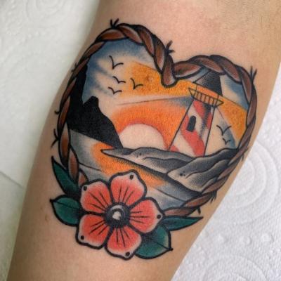 Traditional Lighthouse Scene Tattoo