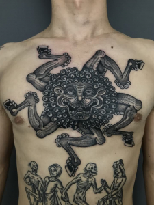 Traditional Mythical Chest Tattoo
