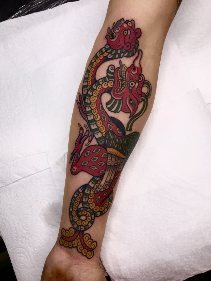 Traditional Mythical Dragon Tattoo