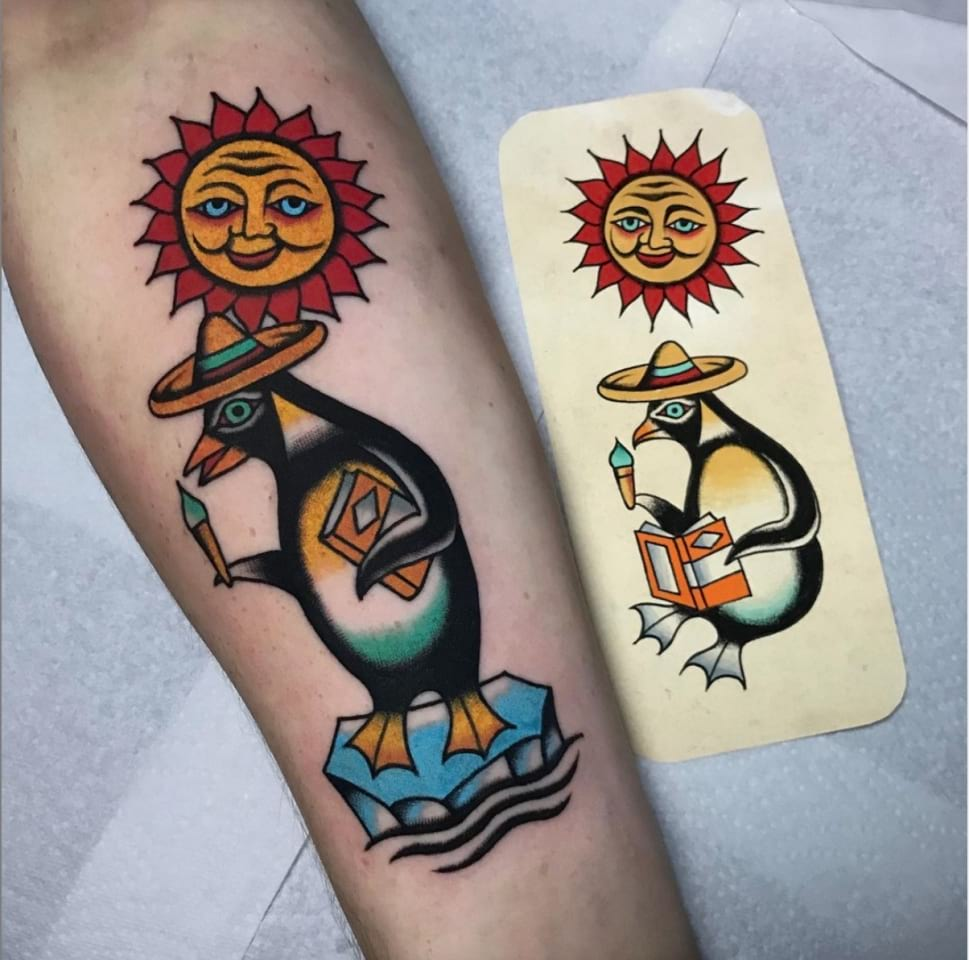 Traditional Penguin Ice Cream Tattoo