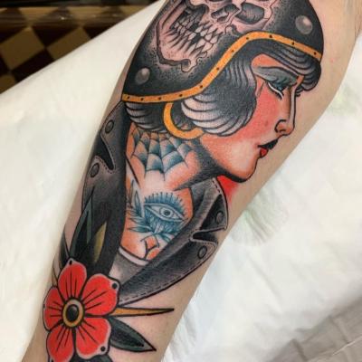 Traditional Tattoo Biker Girl