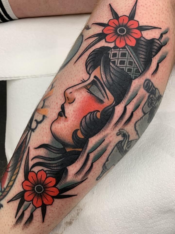 Traditional Tattoo Lady Head