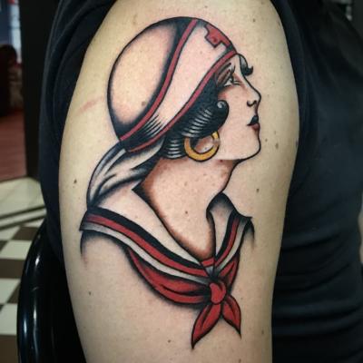 Traditional Tattoo Nurse Head