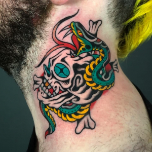 Traditional Tattoo Skull And Snake
