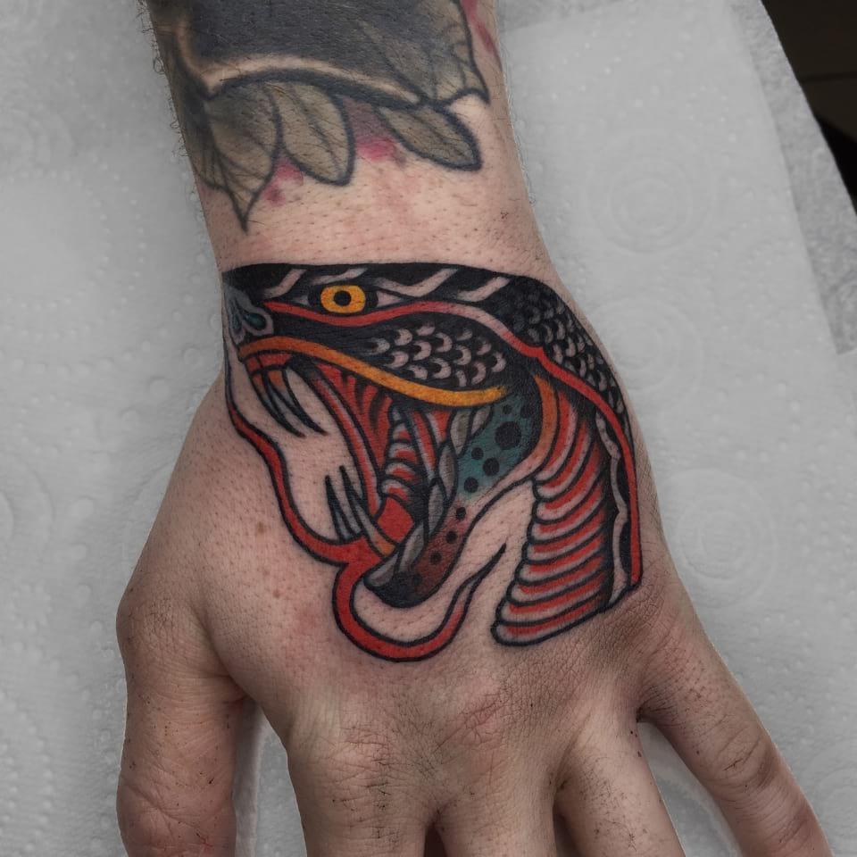 Traditional Tattoo Snake Head