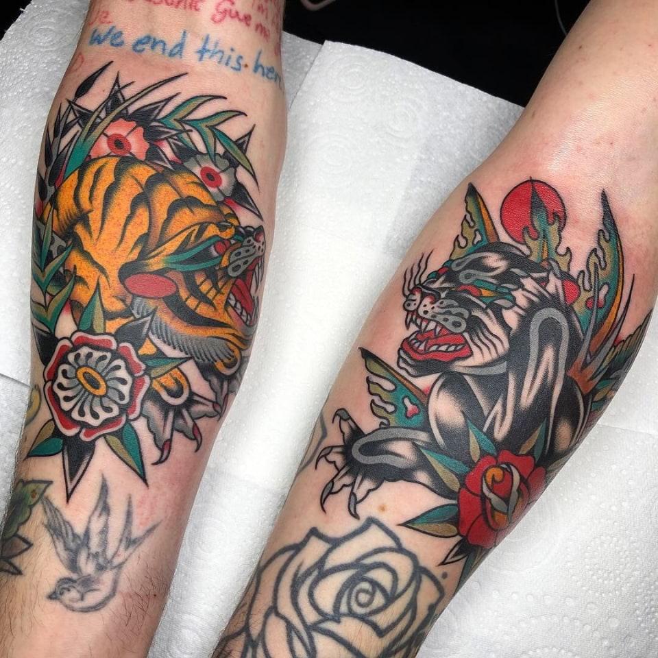 Traditional Tiger Arm Tattoo