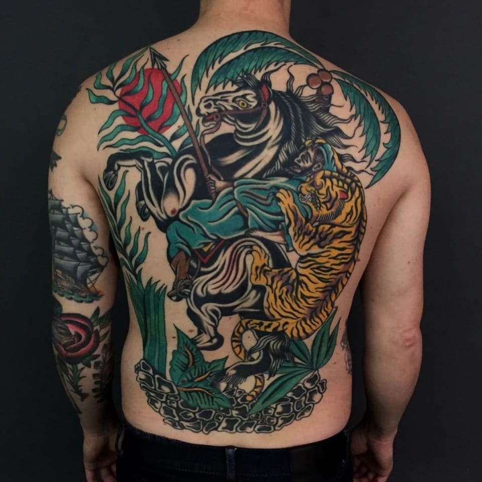 Traditional Tiger Hunt Back piece Tattoo