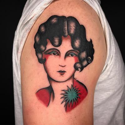 Ladies face tattoo