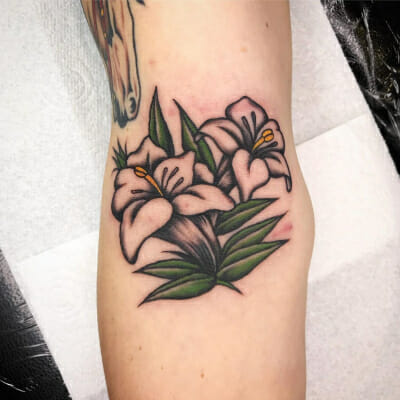 Design tattooed in the elbow ditch