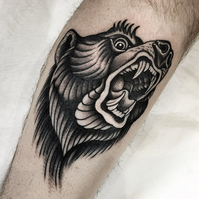 black and grey bear tattoo 3